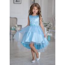 Платье нарядное небесного цвета с ассиметричной юбкой Гламур
