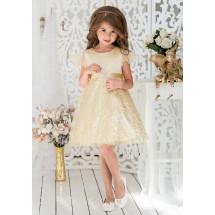 Платье нарядное золотистое с сеткой и пайетками Кэнди