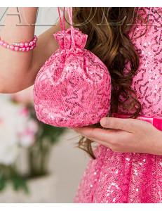 Сумочка-мешок розового цвета с пайетками Лолита