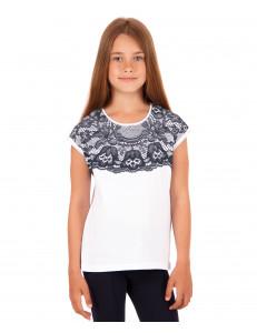 """Блузка для девочек белого цвета с эффектом кружева """"Опера"""""""