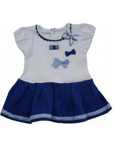 Платье на малышку бело-синего цвета с бантиками