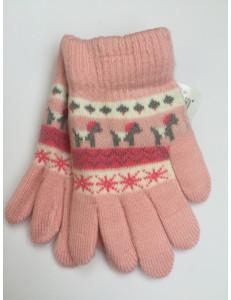 Перчатки осенние светло-розового цвета с изображением пони