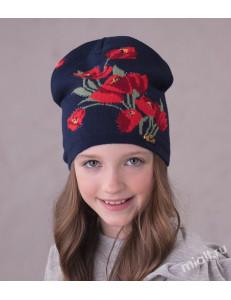 """Шапка демисезонная синего цвета для девочек """"Тюльпаны"""""""