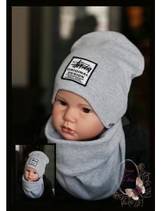 """Комплект серый для мальчика (удлиненная шапка и снуд) """"Original Design"""""""