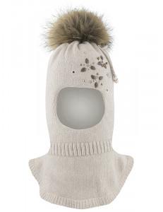 """Шапка-шлем бежевого цвета для девочек с бусинками и стразами """"Джоанна"""""""