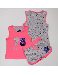 """Комплект с пайетками ярко-розового цвета (шорты и майка) """"78"""""""