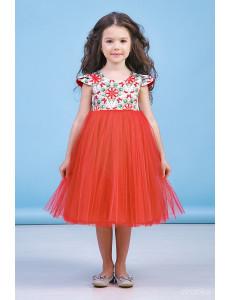 """Платье нарядное красного цвета с узорами """"Spring"""""""