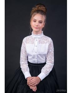 """Блузка белого цвета с рюшем на воротничке """"Амалия"""""""