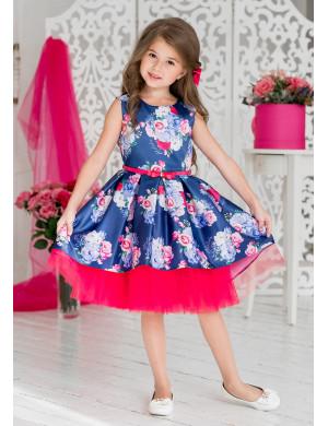 """Платье нарядное с перепадом длины темно-синего цвета"""" Элфрида"""""""